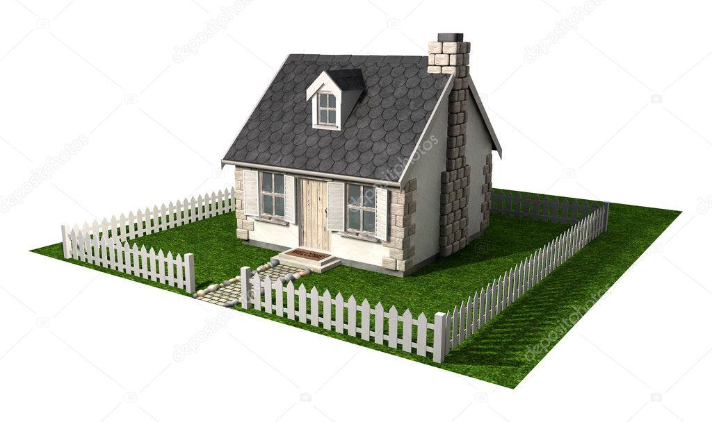 cerca para jardim branca : cerca para jardim branca:Catita cabana casa com jardim e cercas — Fotografias de Stock
