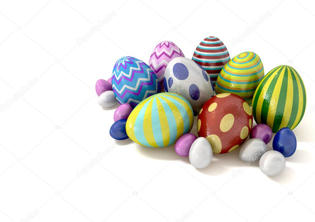 A collection of foil covered easter eggs huddled in a bunch — Stock Photo #9260321