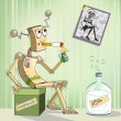 Robot-alcoholic — Stock Vector