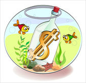 Dollar in a bottle — Stock Vector
