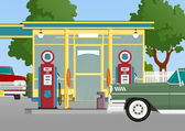 Retro gas station — Stock Vector