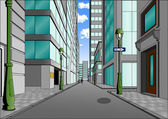 Street in the city center, summer day full of sunshine — Stock Vector