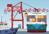 Barco de contenedores en el puerto — Vector de stock