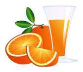 Oranges and a glass of juice — Stock Vector