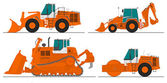Set of four construction machines — Stock Vector