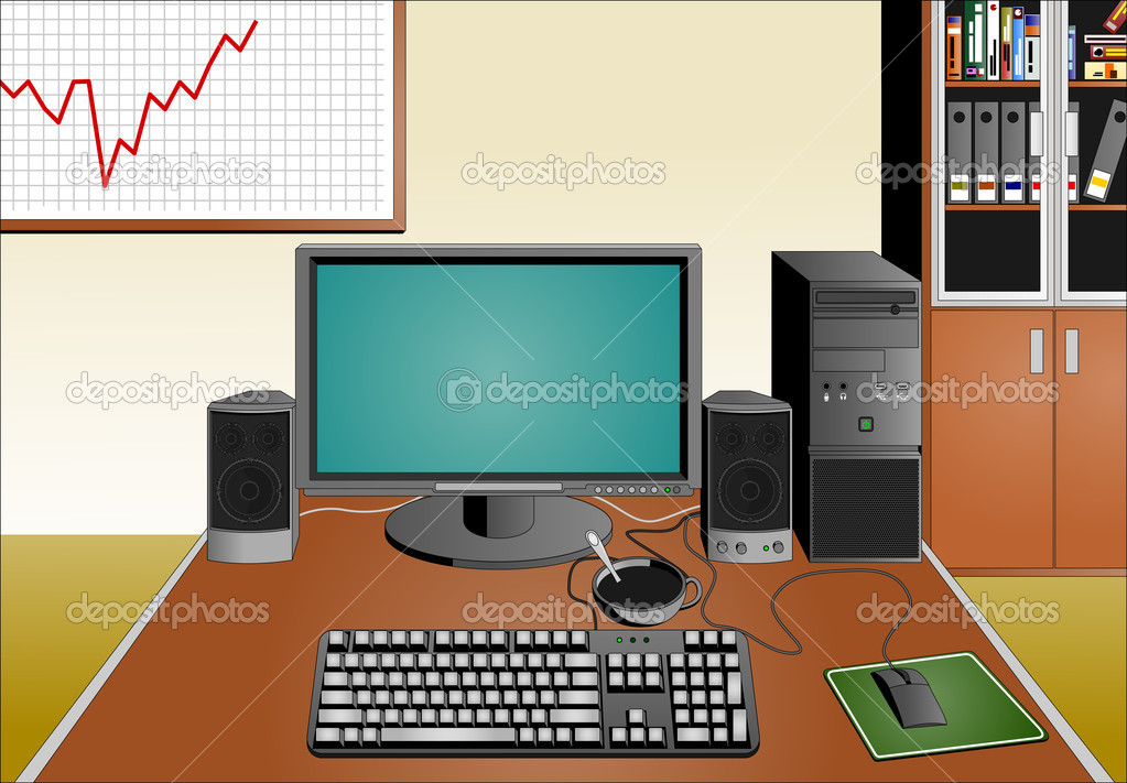 Office with computer equipment, image format A4 — Stock Vector #9455619