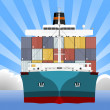 Stock Vector: Cargo Container Ship