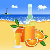 Oranges and a glass of juice on the beach — Stock Vector