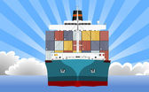Cargo Container Ship — Stock Vector