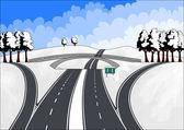 Highways in winter landscape — Stock Vector