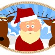 Stock Vector: Santa and two reindeer