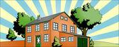 House with garden — Stock Vector