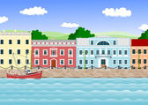 Waterfront in the old town — Stock Vector