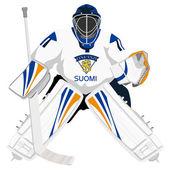 Team Finland hockey goalie — Stock Vector