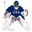 Stock Vector: Team UShockey goalie