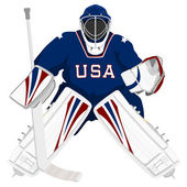 Team USA hockey goalie — Stock Vector