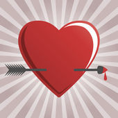 Hearts and cupid arrow — Stock Vector
