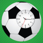Clock in football ball — 图库矢量图片