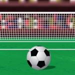 Постер, плакат: Soccer ball on the penalty spot