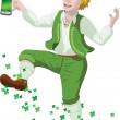 Leprechaun with beer in St. Patrick's Day — Stock Photo