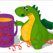 "Dragon with a mug ""Happy New Year!"" — Stock Photo"
