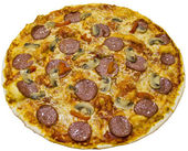 Salami pizza with mushrooms — Stock Photo