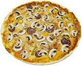 Mushroom pizza with salami — Stock Photo