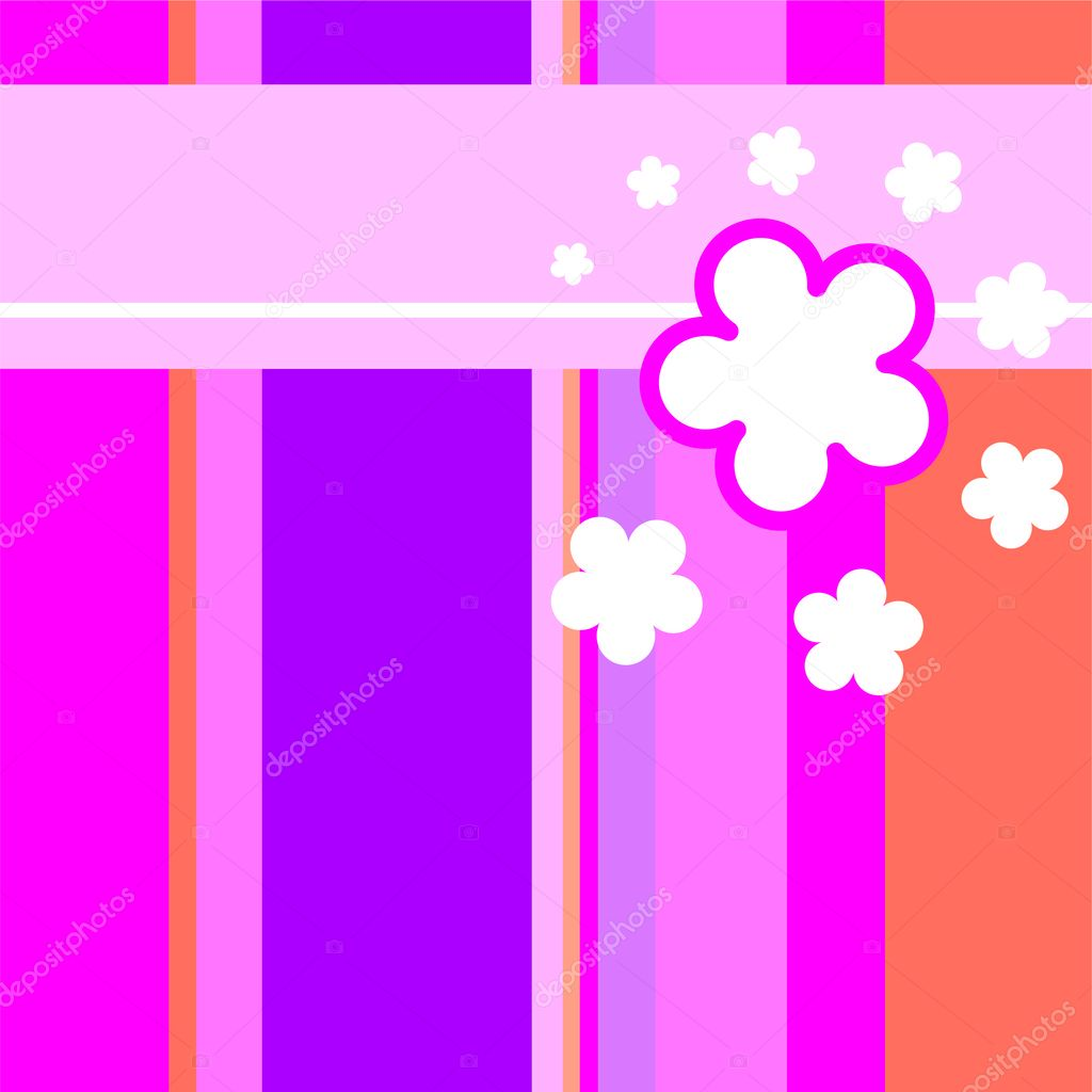 Vector seamless pattern background with hand drawn vibrant pink stripes and small white flowers. — Stock Vector #9195693