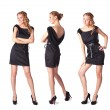 Portrait of three attractive young women in a black dress Full l - Stock Photo