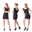 Portrait of three attractive young women in a black dress Full l — ストック写真