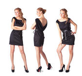 Portrait of three attractive young women in a black dress Full l — Stock Photo