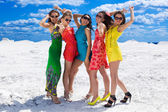 Five Cute sexy girls on the snow ready for party — Stock Photo