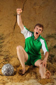 Soccer or football player screaming goal — Stock Photo