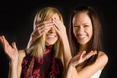 Two cute twins girls having fun — Stock Photo