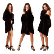 Beautiful sexy triplets girls in fur coat isolated - Stock Photo