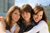 Three happy cute young girls — Stock Photo