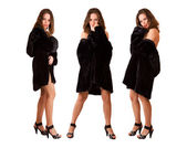 Beautiful sexy triplets girls in fur coat isolated — Stock Photo