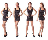 Portrait of four attractive young women in a black dress Full le — Stock Photo