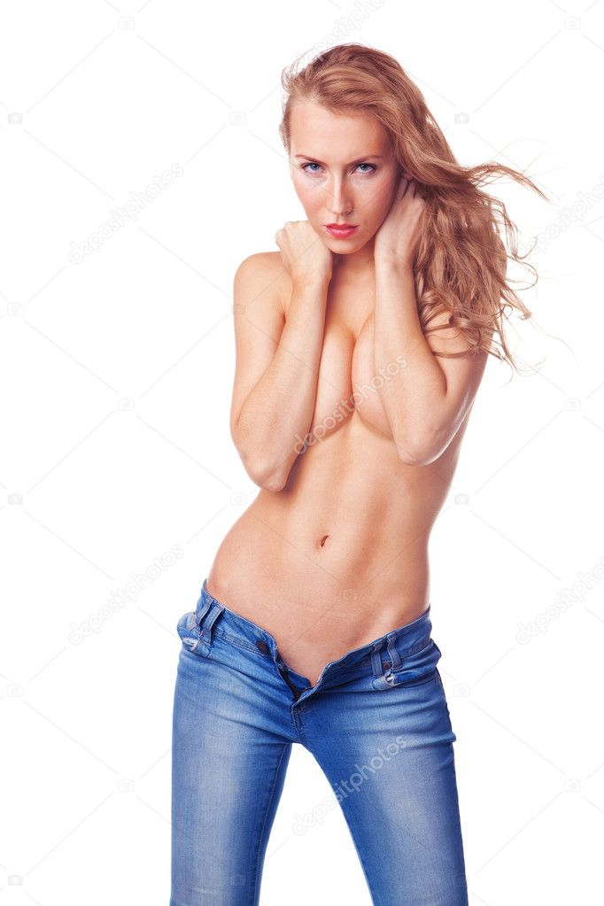 Sexy blond woman standing topless in jeans isolated on white background  Stock Photo #9784867