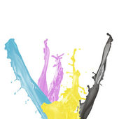 Paint splash of cyan, magenta, yellow and black isolated on whit — Stock Photo