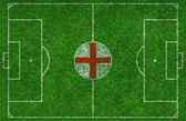 Football Pitch with English Flag — Stock Photo
