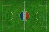 Football Pitch with French Flag — Stockfoto