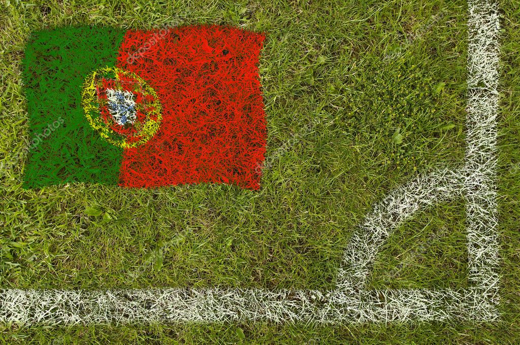 Flag of Portugal painted on football pitch — Stock Photo #9252563