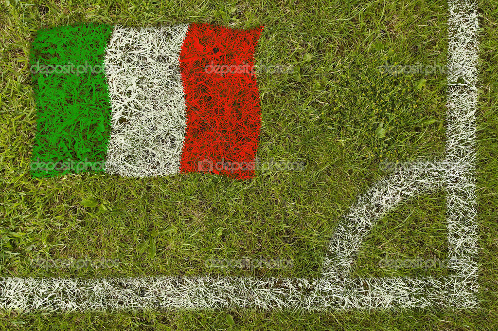 Flag of Italy painted on football pitch — Stock Photo #9252585