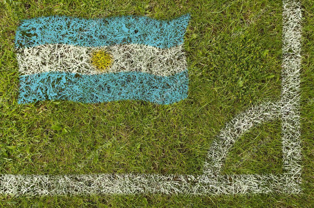 Flag of Argentina painted on football pitch — Stock Photo #9252612