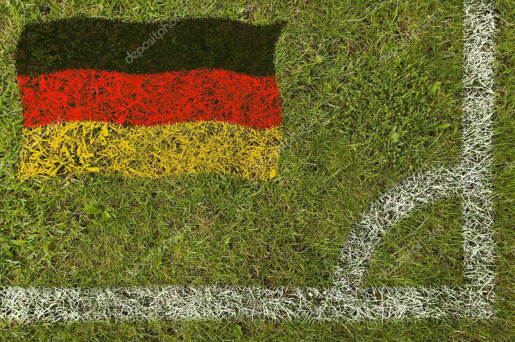 Flag of Germany painted on football pitch  Stock Photo #9252731