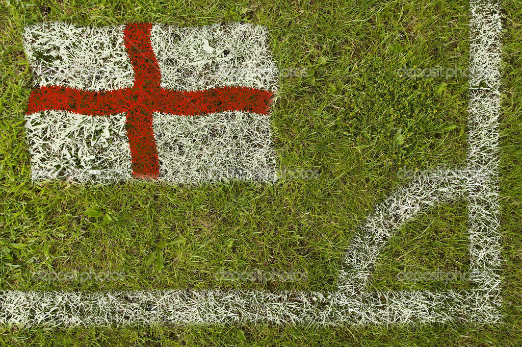 Flag of England painted on football pitch  Stock Photo #9252785