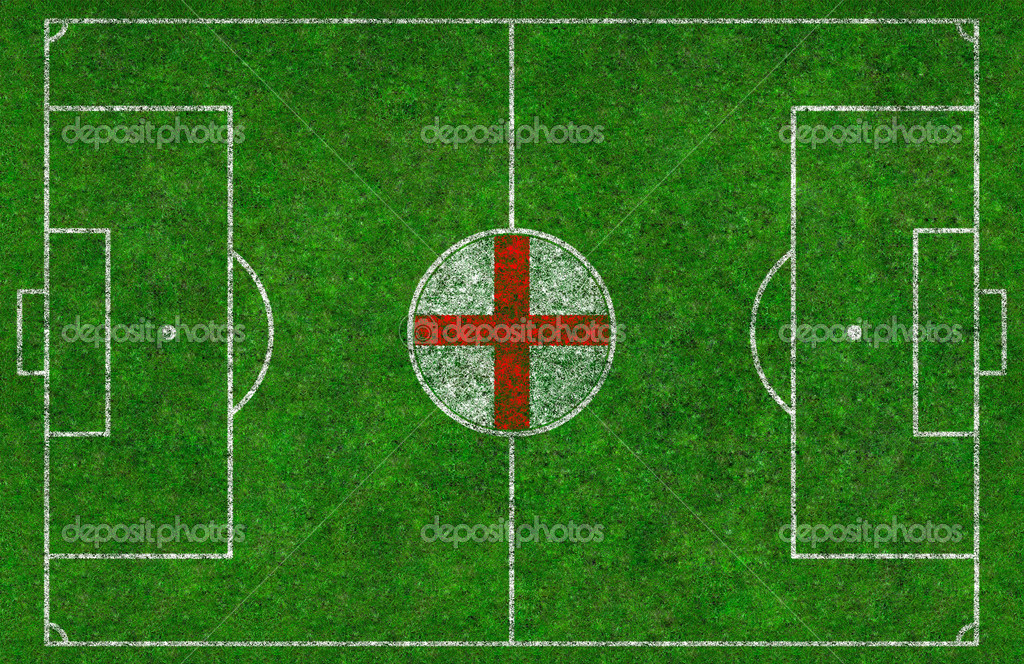 Overhead shot of a football pitch with an English Flag in the centre circle — Stock Photo #9252886