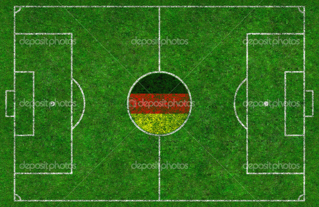 Overhead shot of a football pitch with a German flag in the centre circle — Stock Photo #9252950