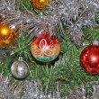 Christmas balls on christmas tree — Stock Photo #9356532